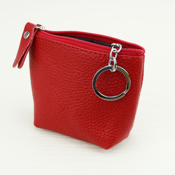 Genuine Leather Mini Women Zipper Coin Purse Bag with Keychain Cute Pouch Mini Change Wallets For Girls 2016 kinder portemonnee