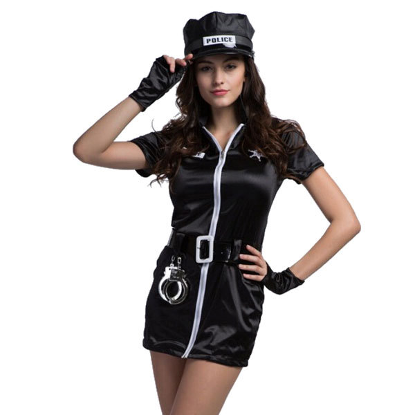 Free Shipping Hot Selling Women <font><b>Cop</b></font> Costumes <font><b>Sexy</b></font> Black Zipper Front Female Police Costumes image