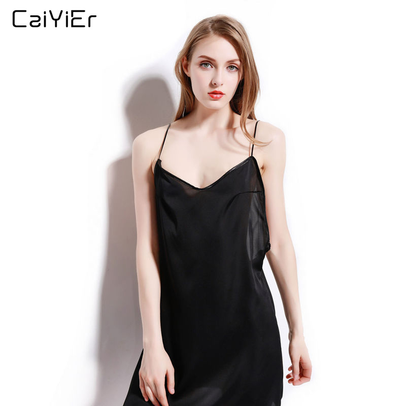 Caiyier Sexy Open Black Deep V-Neck Silk   Nightgown   2018 New Lingerie   Sleepshirts   For Women Summer Sleepwear Nightwear NightDres