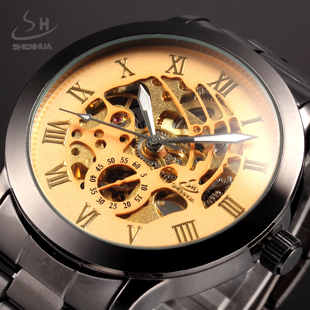 Automatic Mechanical Watch Men Gold SHENHUA Luxury Brand Clock Stainless Steel Mens Skeleton Watches Sport Relogio Masculino forsining gold hollow automatic mechanical watches men luxury brand leather strap casual vintage skeleton watch clock relogio