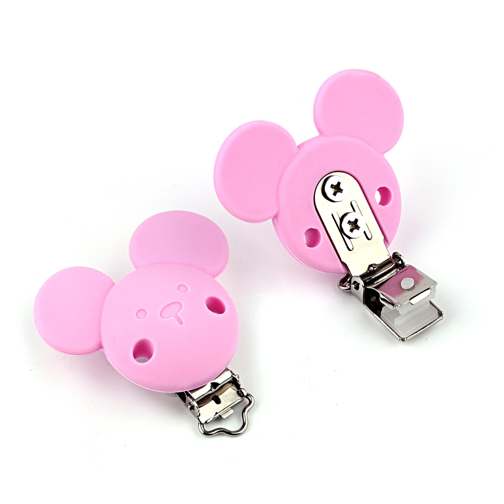 TYRY.HU Mickey Minnie Mouse Clips No-Rusty Silicone Beads Pacifier Clip Baby Chew Dummy Chain Adapter 1PC Easy to Attach Clothes
