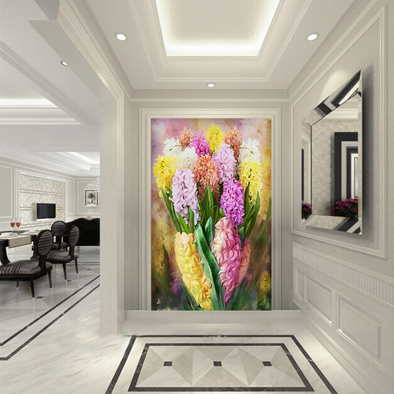 study modern background sofa mural wallpapers colorful painting wall flowers 3d custom