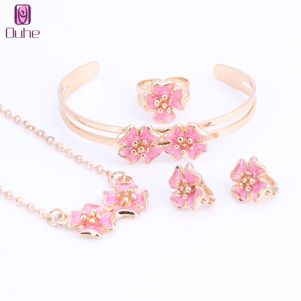 Us 7 59 49 Off Fashion Jewelry Lovely Flower Children Necklace Bangle Earring Ring Kids Baby Costume Set 5 Colors In Sets From