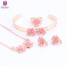 Fashion Girl Jewelry Lovely Flower Children Necklace Bangle Earring Ring Kids Baby Costume Jewelry Set 5 Colors(China)