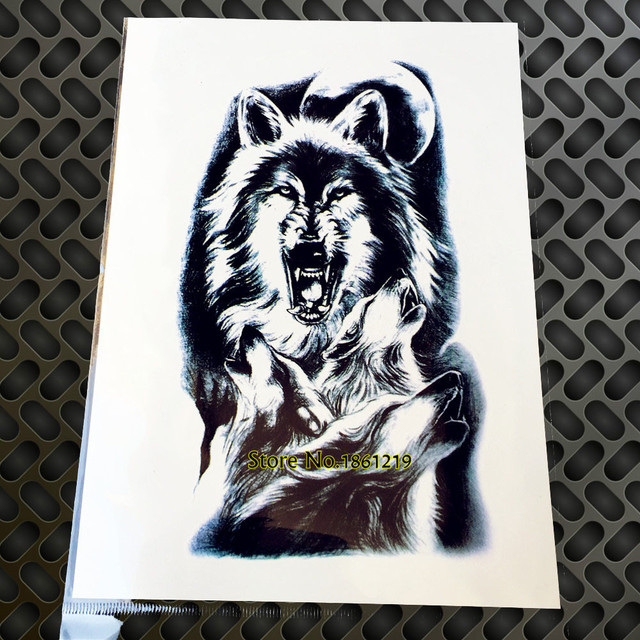 Cool Large 3d Temporary Wolf Tattoos Stickers For Men Gaq H850
