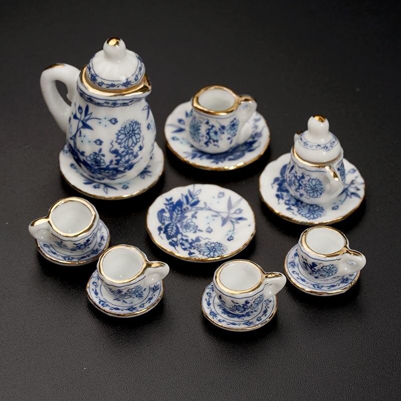 Mini Blue And White Porcelain Tea Set Doll House