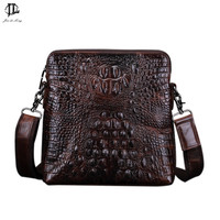New Vintage Crocodile Grain Genuine Leather Men Messenger Crossbody Shoulder Sling Bag Travel Hiking Zipper Business