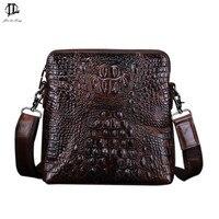 New Vintage Crocodile Grain Genuine Leather Men Messenger Crossbody Shoulder Sling Bag Travel Hiking Zipper Business