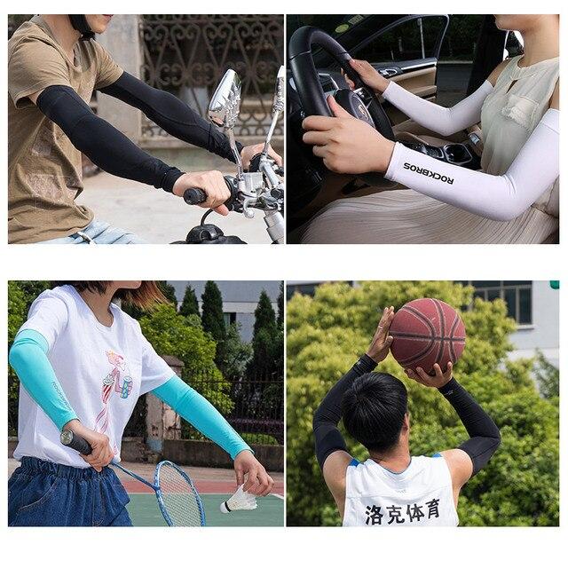Rockbros tecido de gelo respirável proteção uv correndo mangas braço fitness basquete cotovelo almofada esporte ciclismo ao ar livre aquecedores braço 4