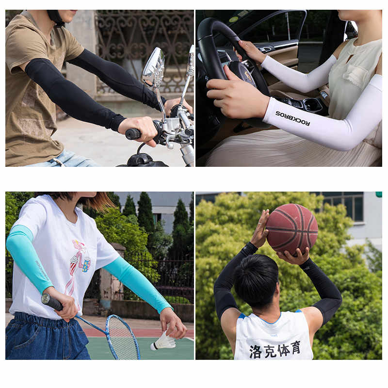 ROCKBROS tela de hielo transpirable protección UV Running brazo mangas Fitness Codera de baloncesto deporte ciclismo exteriores brazo calentadores