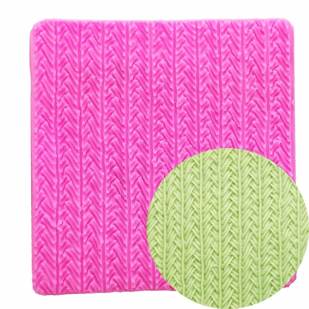 Diy molde de silicone agulha tricô lã textura rendas fondant bolo decoração ferramentas argila polímero resina doces t1117