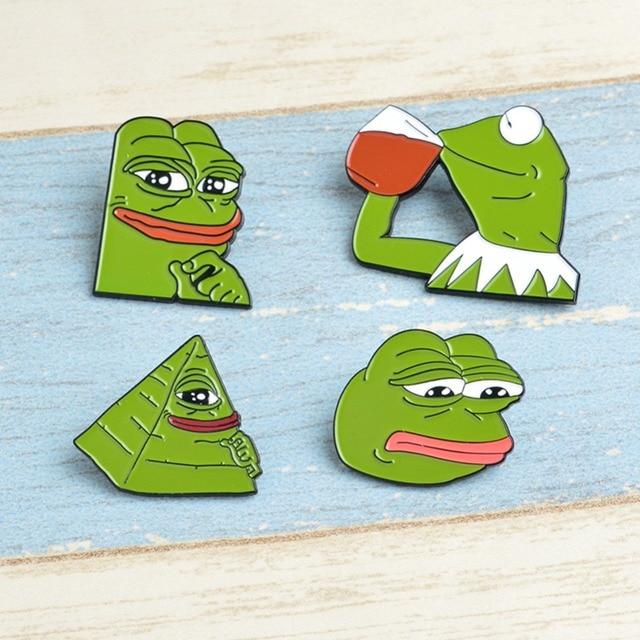 5aeddb6dca Smile Sad Frog Pepe thinker drink Pepe Pride Lapel Pin Badge Badge Button  Funny enamel Lapel