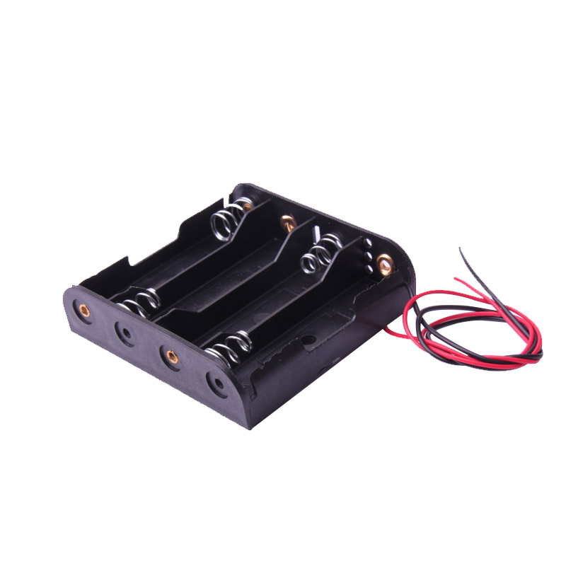 Glyduino Multi-Slot AA Size 4 Battery Clip Hard Base Case Holder With Wire Leads DIY Without Cover