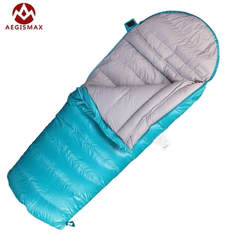 AEGISMAX Enfants Enveloppe sacs de Couchage Duvet d'oie Blanche pour Enfants Camping Bleu Rose Deux Façons Tirette 160*70 cm K200 K400 K600