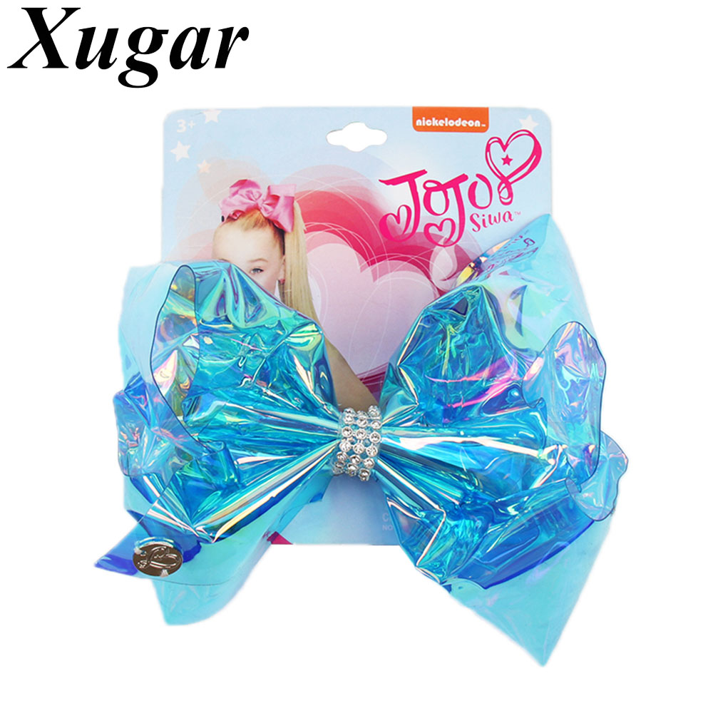 Xugar 5 5 Inch Rainbow Transparent Plastic Hair Bow for Girls Rhinestone Hair Clip Children Hairgrips Hair Accessories in Hair Accessories from Mother Kids