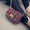 Vintage Women's Woolen Messenger Bag female shoulder Handbags famous Designer Ladies flap clutches Crossbody Chain Bag for girls