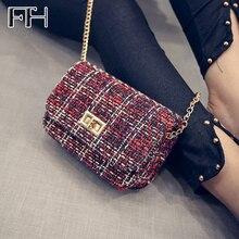 Vintage frauen Woolen Umhängetasche weibliche schulter Handtaschen berühmte Designer Damen klappe kupplungen Crossbody Kette Tasche für mädchen