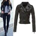 Женщины Зима Пу Куртка Европа стиль Feminina Черный Молния Мотоцикл Искусственного Верхняя Одежда пальто