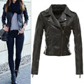 Women Winter Pu Jacket Europe style Feminina Black Zipper Motorcycle Faux Tops coat