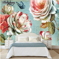 beibehang Custom Photo Mural Wallpapers 3d European New Pastoral Retro Floral Hand Painted Oil Paintings Wallpaper Background