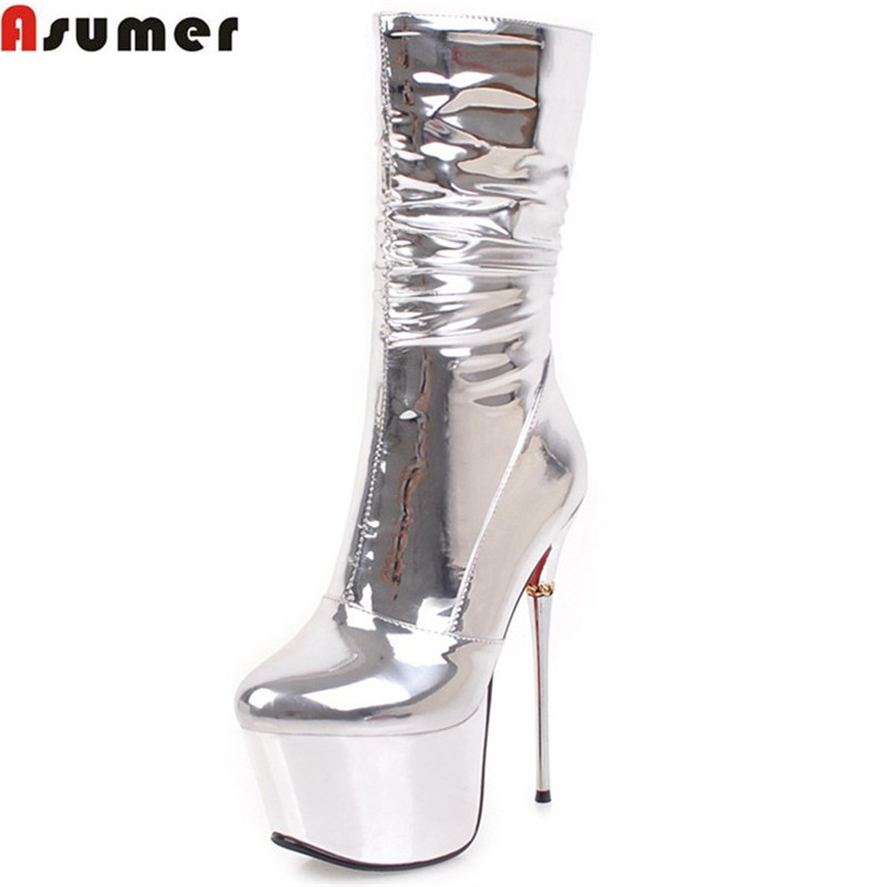ASUMER fashion autumn winter women boots platform silvery super high thin heel zipper ladies boots sexy prom mid calf boots цены онлайн