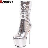 Asumer/Модные осенне зимние женские ботинки на платформе Серебристые на очень высоком тонком каблуке с застежкой молнией женские сапоги сексу