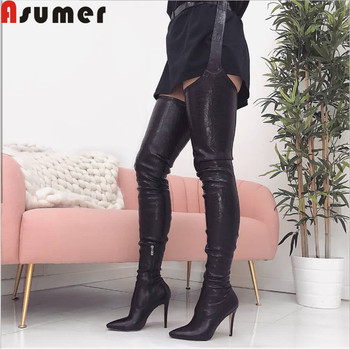 Asumer black fashion over the knee boots pointed toe zip thin high heels shoes elegant prom shoes And thigh Pants boots women
