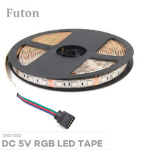 DC5V Lampu LED RGB Strip SMD5050 Tahan Air Fleksibel Pita LED untuk TV Backlight, Di Bawah Kabinet Lemari Ringan dan DIY(China)