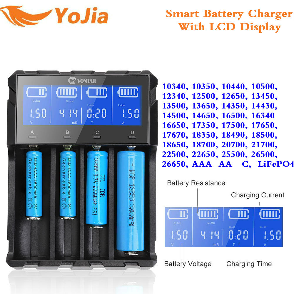 Yojia VT4 Plus LCD 18650 Battery Charger LiFePo4 Rechargeable Battery For Li-ion NiMH Ni-CD AA AAA 26650 14500 22650 Charger yojia vt4 plus lcd 18650 battery charger lifepo4 rechargeable battery for li ion nimh ni cd aa aaa 26650 14500 22650 charger
