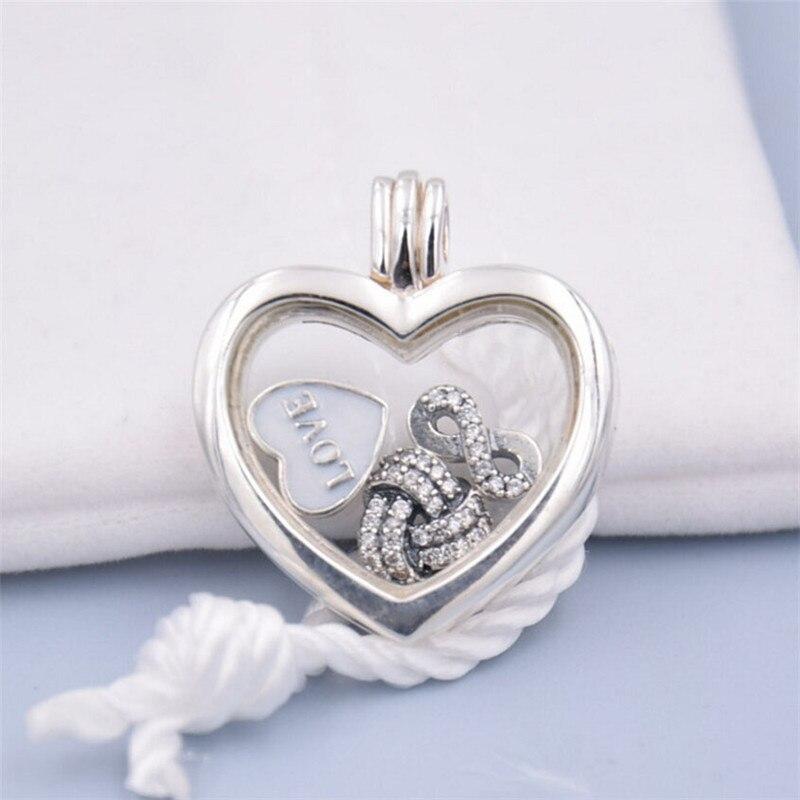 Adapte Pandora Collier Coeur Médaillon Pendentif Avec 3 pcs Charme Perles 100% 925 Bijoux En Argent Sterling Cadeau du Jour de Mère DIY Faisant