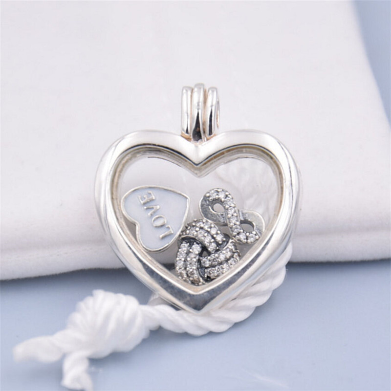 Fits Pandora Necklace Heart Locket Pendant With 3Pcs Charm Beads 100% 925 Sterling Silver Jewelry Mother's Day Gift DIY Making
