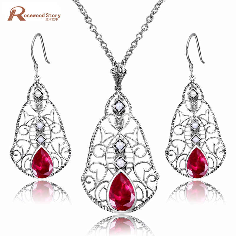 Nigerian Wedding African Jewelry Shell Design Natural Pearl Jewelry Set Red CZ Stone Pendant Earrings for Women Birthday GiftNigerian Wedding African Jewelry Shell Design Natural Pearl Jewelry Set Red CZ Stone Pendant Earrings for Women Birthday Gift