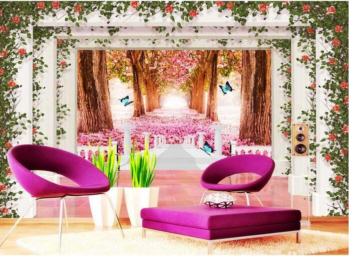 3d wallpaper custom mural non woven 3d room wallpaper cherry blossom ...