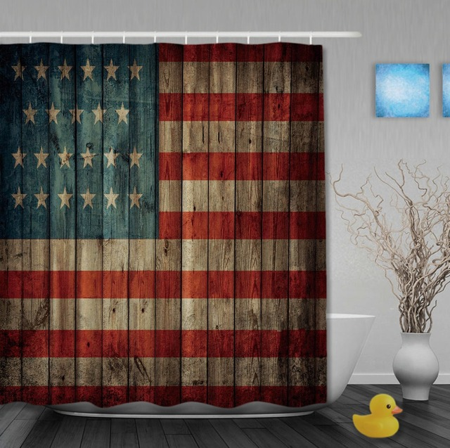 The USA Flag On Wooden Shower Curtain Classic Curtains Waterproof Fabric Custom Bathroom