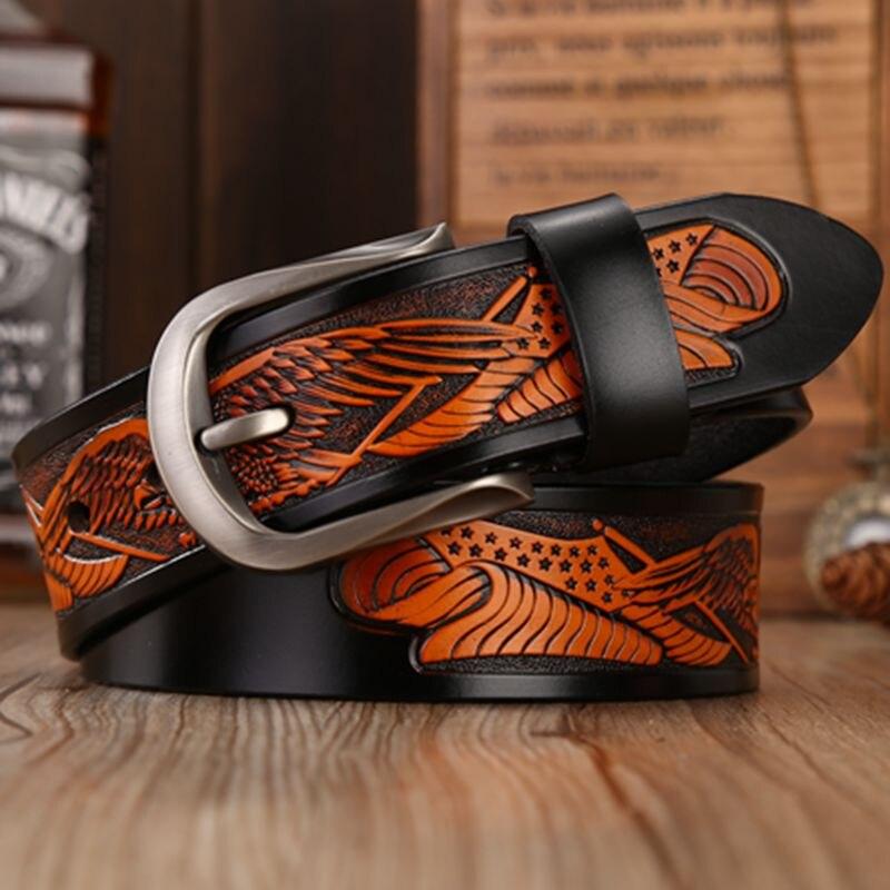 2018 nouveau véritable ceintures en cuir pour hommes de haute qualité ceinture boucle ardillon punk fabriqués à la main aigle coquilles cowboy taille sangle jeans 130