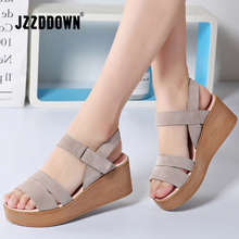 JZZDDOWN women sandals suede leather wedges heel flat sandals