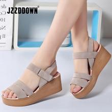 JZZDDOWN women sandals suede leather wedges heel flat sandals female beach gladiator sandals ladies platform sandals shoes