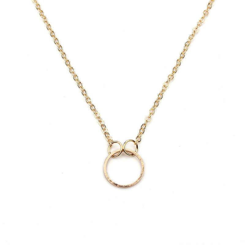 1 pc proste Karma okrągły ze stopu urok życzenie karty Choker Collier naszyjniki linki łańcuchy złota płyta dla kobiet oświadczenie biżuteria prezent