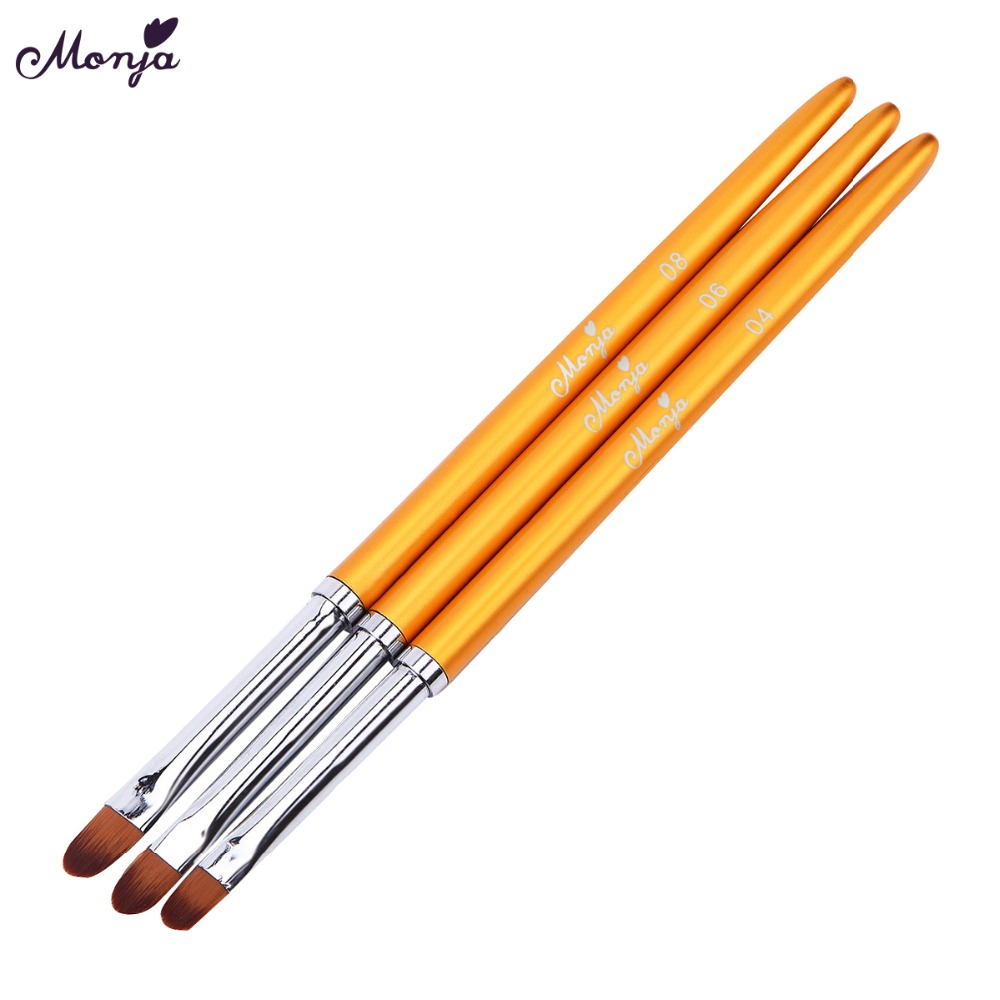 Monja 3Pcs/set Nail Art Metal Handle Acrylic UV Gel Extension Builder Drawing Brush Flower Image DIY Painting Pen Manicure Tool цена