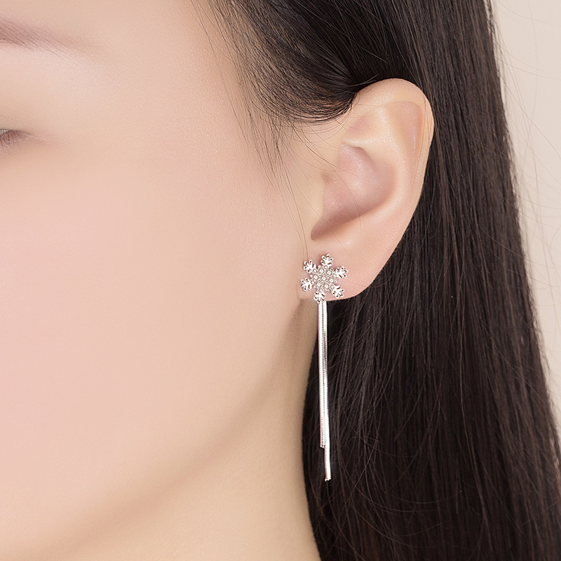 925 Sterling Silver Fashion Shiny Crystal Snowflake Long Tassel Stud Earrings for Women Jewelry Gift Hot Sale Wholesale in Stud Earrings from Jewelry Accessories