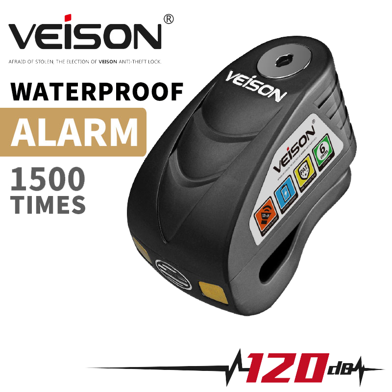 VEISON Motorcycle Waterproof Anti theft 120dB Alarm Disc Lock Warning Security Anti theft Brake Rotor Padlock