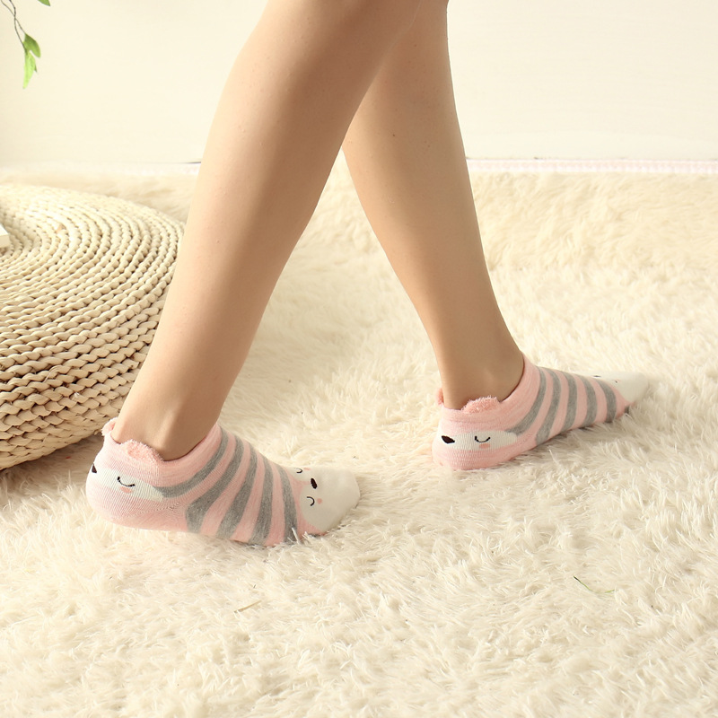 5 Pairs/lot 3D Ears Fashion Women Socks Cute Low Cut Slippers Cat Invisible Socks ...