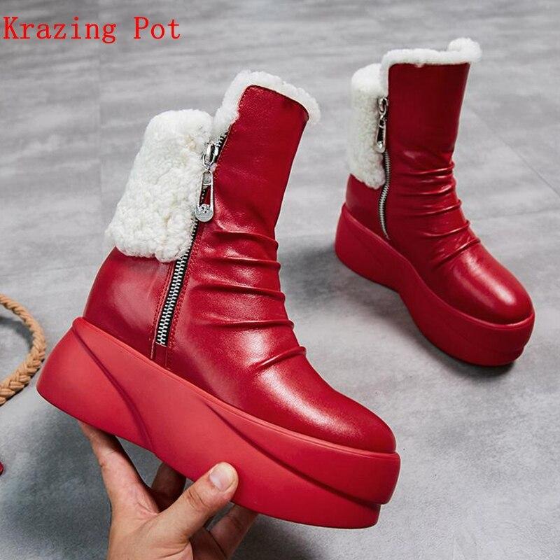 Krazing pot 2019 en cuir véritable à bout rond en fourrure de mouton de luxe compensées talons hauts bottes de neige européennes augmentant mi-mollet bottes L18