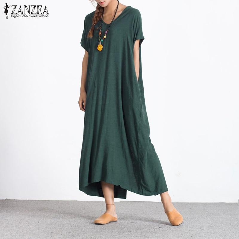 2018 ZANZEA Fashion Loose Summer Women Long Maxi Dress Sexy V Neck Short  Sleeve Back Buttons 65d40a430904