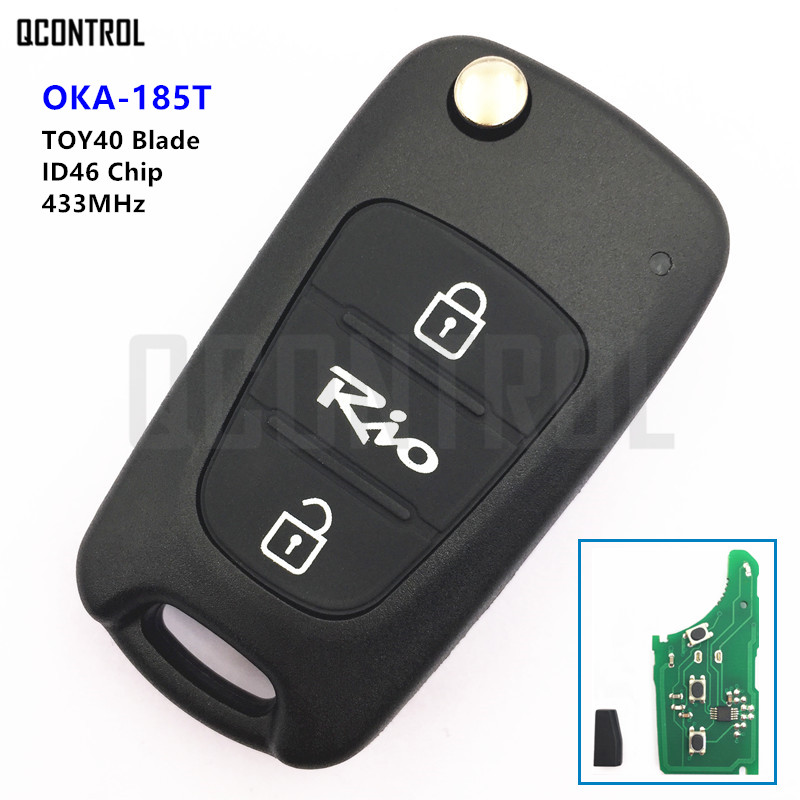 QCONTROL 433MHz Remote Key for KIA Rio Car OKA-185T CE0682 PCF7936 Immobilizer TOY40 Key Blade image