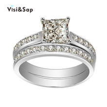 Vissap New Hot White Gold Plated Jewelry wedding Rings for women vintage luxury jewelry engagement ring Wholesale VSR120