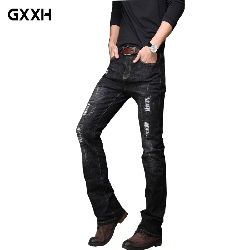 2018 Spring And Autumn New Style Men's Stretch Denim Pants Korean Wave Pants Briefs Micro Horn Black Jeans Size 28-33 34 36 38