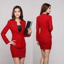 Элегантная красная профессиональная деловая Женская рабочая одежда осень зима Униформа офисные костюмы с мини-юбкой для женщин офисный комплект