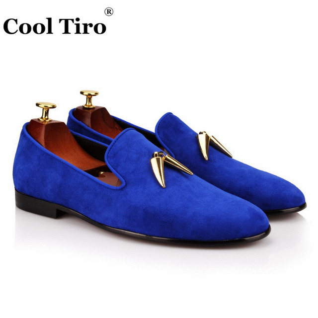 addd485e2 COOL TIRO Men Blue suede Shoes Slip On Fashion Male Formal loafers Shoes  Flats metal Casual For man mocassin homme
