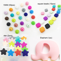 Silicone Random Beads Teething Elephant Toys DIY Crafts Baby Silicone Teether Organic Nursing Necklace Pendant Beads
